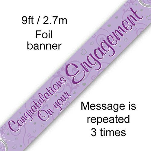 9ft Lilac Holographic Foil Banner - Congratulations on Your Engagement