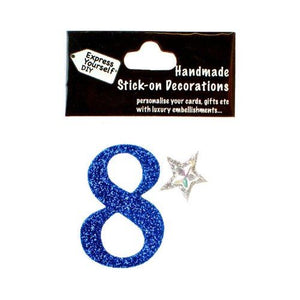 self adhesive, Blue number 8, Topper 8cm