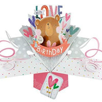 Second Nature Birthday Pop Up Card with a Bear