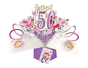Second Nature Female 50th Birthday Pop Up Card with Flowers