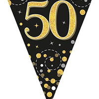 Sparkling Fizz Black & Gold 50th Birthday Flag Bunting