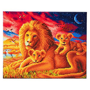 Crystal Art Lion Family 40 x 50 cm Landscape Framed Crystal Art Kit