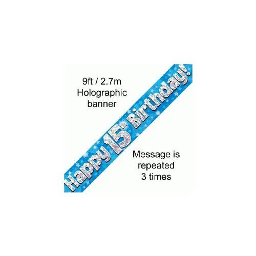 9ft Blue & Silver Stars Holographic Happy 15th Birthday Banner