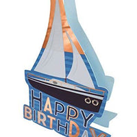 Paper Dazzle Boat Happy Birthday 3D Birthday Greeting Card Glitter Finished PDZ029