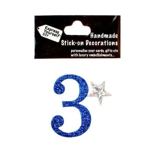self adhesive, Blue number 3, Topper 8cm