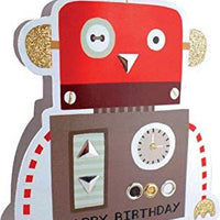 Paper Dazzle Red Robot Happy Birthday 3D Greeting Card Glitter Finished PDZ026