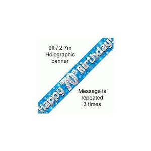 Happy 70th Birthday Foil Holographic Banner, Blue, 9 ft