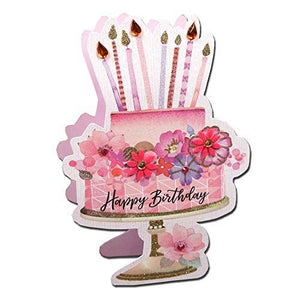 Paper Dazzle Pink Cake Happy Birthday 3D Birthday Greeting Card Glitter Finished PDZ002
