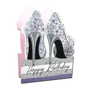 Paper Dazzle Floral Shoes 3D Birthday Greeting Card Glitter Finished PDZ012