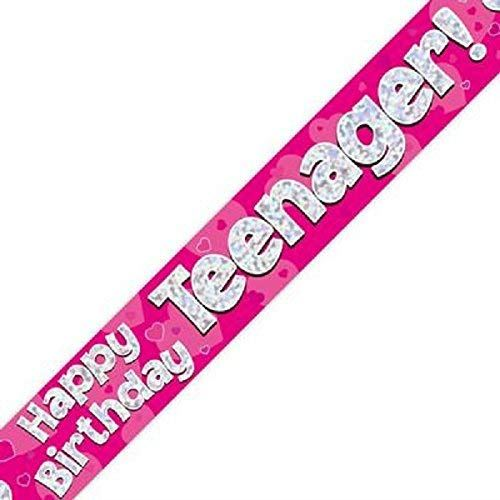 Happy Birthday Teenager Foil Holographic Banner, Pink, 9 ft