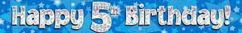 9ft Blue & Silver Stars Holographic Happy 5th Birthday Banner