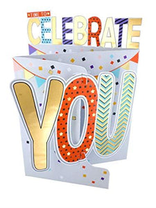 Cutting Edge Time to Celebrate You 3D Cutting Edge Birthday Card Foiled Greeting Cards DCE006