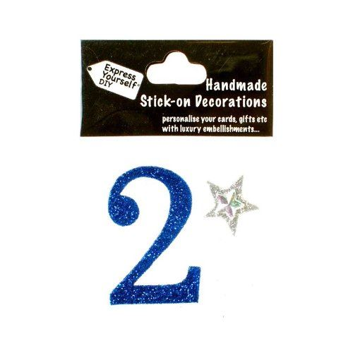 self adhesive, Blue number 2, Topper 8cm