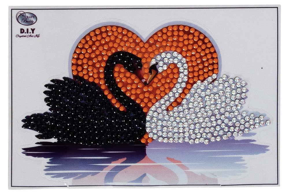 Crystal Art Kissing Swans Sticker 10 x 15 cm