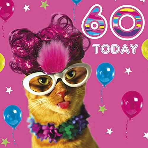60th Birthday Card for Women - Cat in Glasses