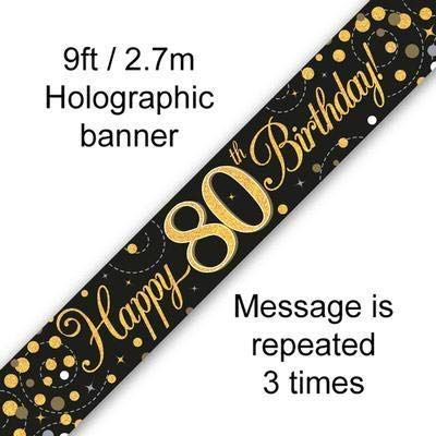 9ft Banner Sparkling Fizz 80th Birthday Black & Gold Holographic