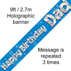 Happy Birthday Dad Foil Holographic Banner, Blue, 9 ft