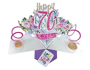 Female 70th Birthday Pop Up Card with Flowers