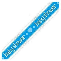Blue Baby Shower Foil Party Banner 2.7m Long Holographic