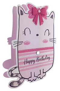 Paper Dazzle Cartoon Cat Happy Birthday 3D Greeting Card Glitter Finished PDZ009