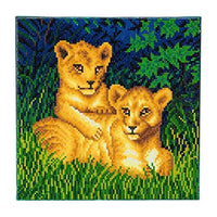 Crystal Art Lion Cubs 30x30cm Framed Crystal Art Kit