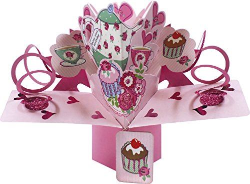Second Nature Teapot Teacups and Cakes Design Pop-Up Birthday Card