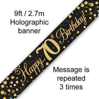 9ft Banner Sparkling Fizz 70th Birthday Black & Gold Holographic