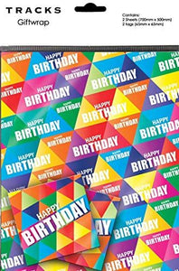 Happy Birthday Triangles Gift Wrapping Paper 2 Sheets + 2 Matching Tags