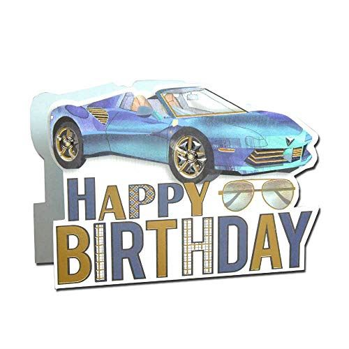 Paper Dazzle Sports Car Happy Birthday 3D Greeting Card Glitter Finished PDZ013