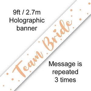 Team Bride Rose Gold & White 9ft Foil Banner