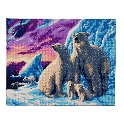 Crystal Art Polar Bear Family 40 x 50 cm Landscape Framed Crystal Art Kit