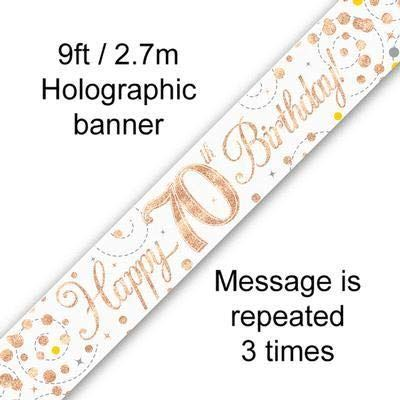 Sparkling Rosegold 70th 9ft Banner