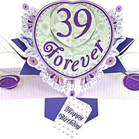 Suki Gifts International Pop Up Card Happy Birthday 39 Forever, Multi-Colour, 13 x 21 x 19 cm