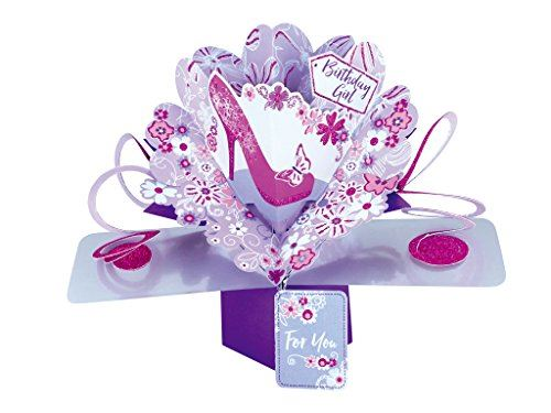 Second Nature Birthday Pop Up Card with 'Birthday Girl' Lettering, Pink Shoe and Flowers