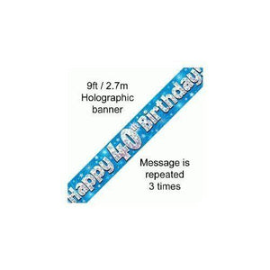 9ft Blue & Silver Stars Holographic Happy 40th Birthday Banner