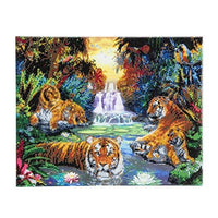 Crystal Art Tigers at the Jungle Pool 40 x 50 cm Landscape Framed Crystal Art Kit