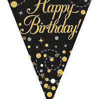 Sparkling Fizz Black & Gold Happy Birthday Flag Bunting