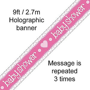 Pink Baby Shower Foil Party Banner 2.7m Long Holographic