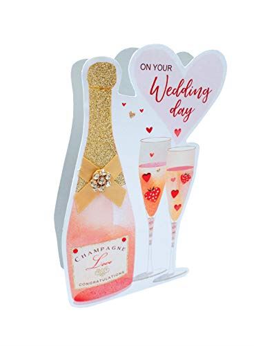 Paper Dazzle Wedding Day Pink Champagne 3D Greeting Card Glitter Finished PDZ045