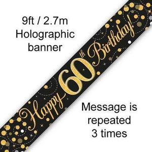 9ft Banner Sparkling Fizz 60th Birthday Black & Gold Holographic