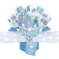 "Pop Ups""Elephants"" New Baby Boy Card with Blue Lettering"