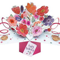 Second Nature Birthday Pop Up Card with Flowers with love