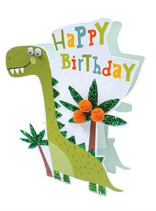 Paper Dazzle Dinosaur Happy Birthday 3D Birthday Greeting Card Glitter Finished PDZ028