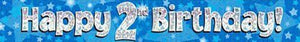 9ft Blue & Silver Stars Holographic Happy 2nd Birthday Banner
