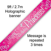 Happy Birthday Princess Foil Banner 9ft (2.7m) long Repeats 3 Times