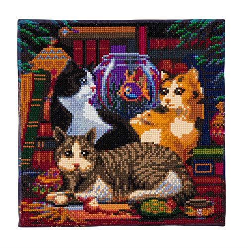 Crystal Art Cat Fishing 30x30cm Framed Crystal Art Kit