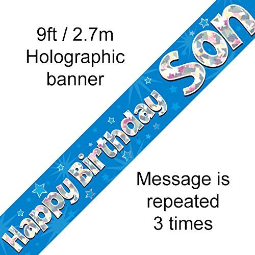 Happy Birthday Son Foil Holographic Banner, Blue, 9 ft