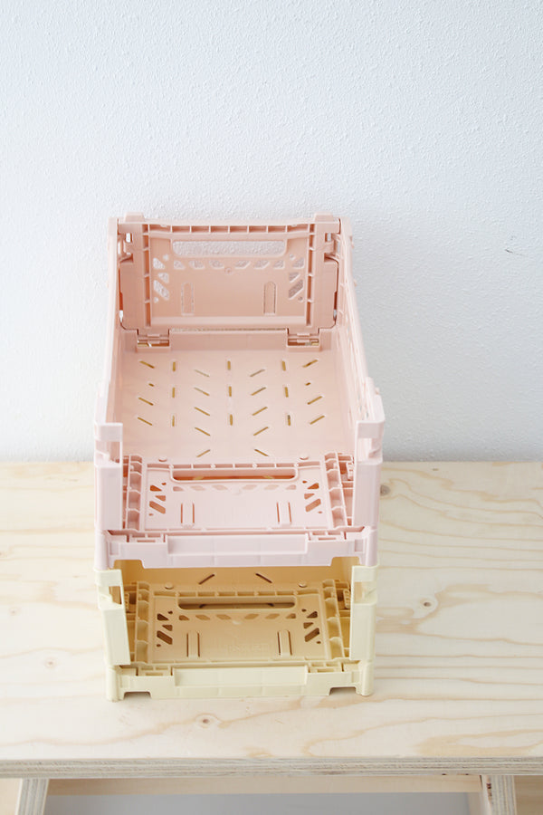 Baby Pink Folding Crate - Small