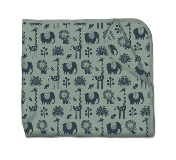 Snuggling artist Blanket in Piha Print - Green Tea