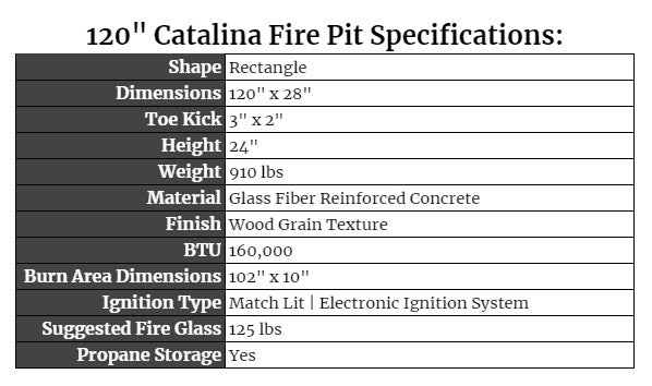 """120"""" Catalina Fire Pit Specs"""